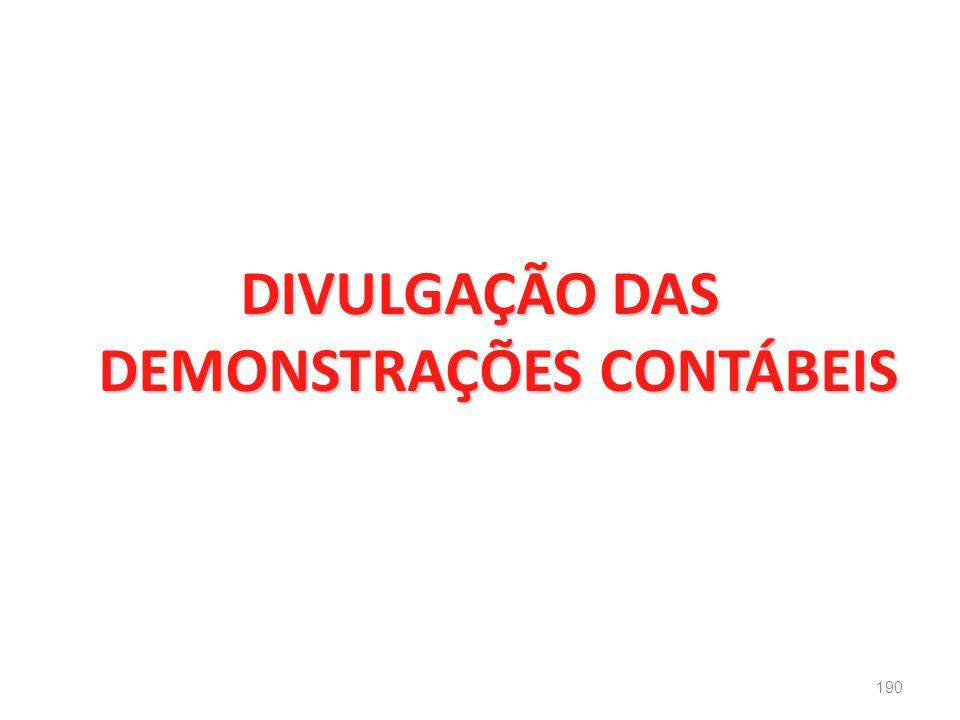 DIVULGAÇÃO DAS DEMONSTRAÇÕES CONTÁBEIS