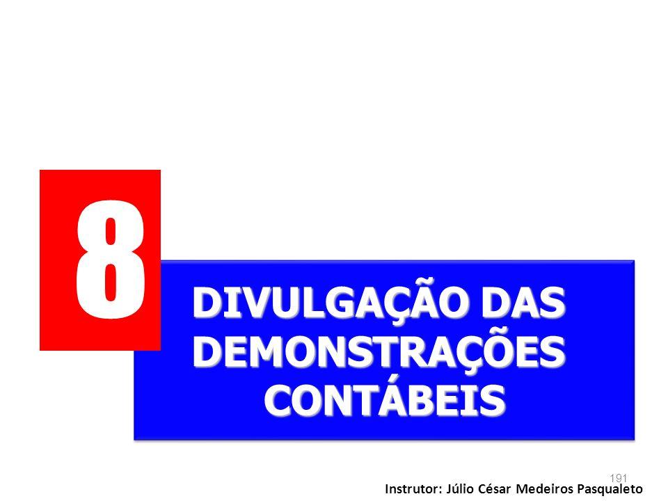 8 DIVULGAÇÃO DAS DEMONSTRAÇÕES CONTÁBEIS