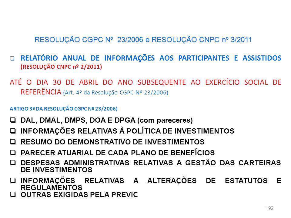 RESOLUÇÃO CGPC Nº 23/2006 e RESOLUÇÃO CNPC nº 3/2011