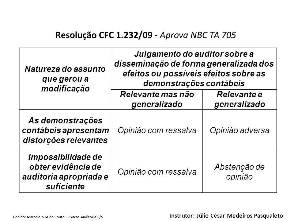 Resolução CFC 1.232/09 - Aprova NBC TA 705