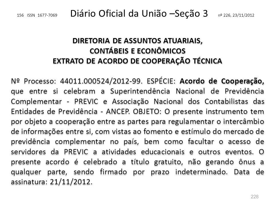 156 ISSN 1677-7069 Diário Oficial da União –Seção 3 nº 226, 23/11/2012