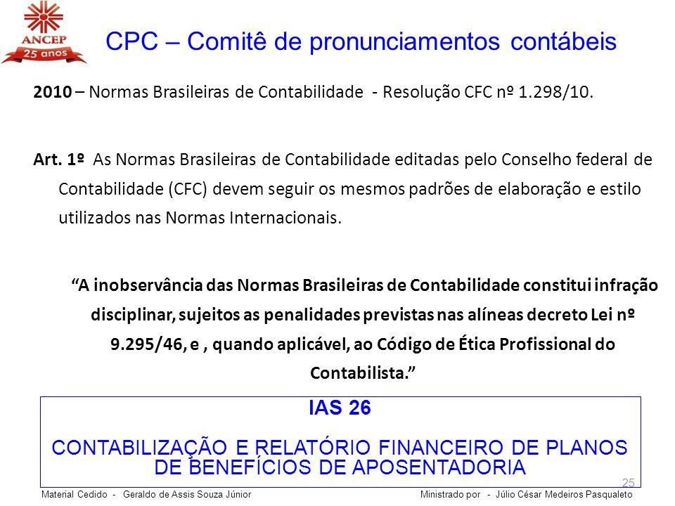 CPC – Comitê de pronunciamentos contábeis
