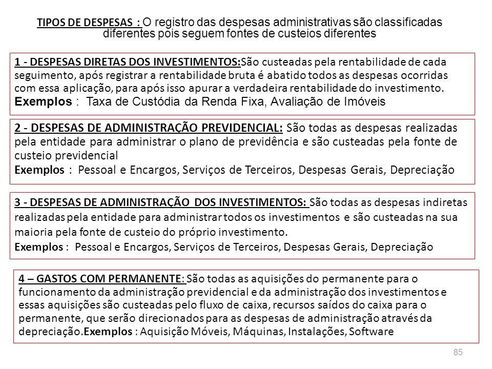 TIPOS DE DESPESAS : O registro das despesas administrativas são classificadas diferentes pois seguem fontes de custeios diferentes