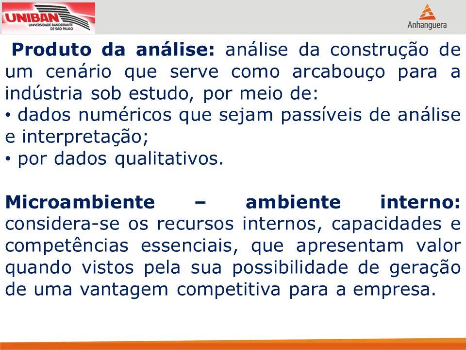 Produto da análise: análise da construção de um cenário que serve como arcabouço para a indústria sob estudo, por meio de: