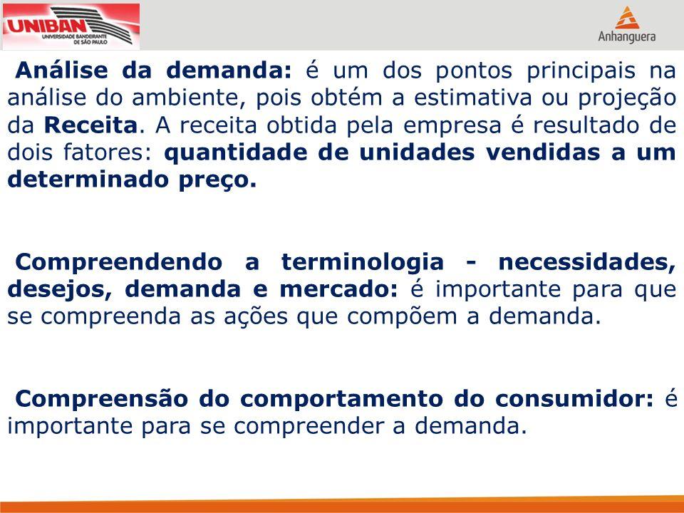 Análise da demanda: é um dos pontos principais na análise do ambiente, pois obtém a estimativa ou projeção da Receita. A receita obtida pela empresa é resultado de dois fatores: quantidade de unidades vendidas a um determinado preço.