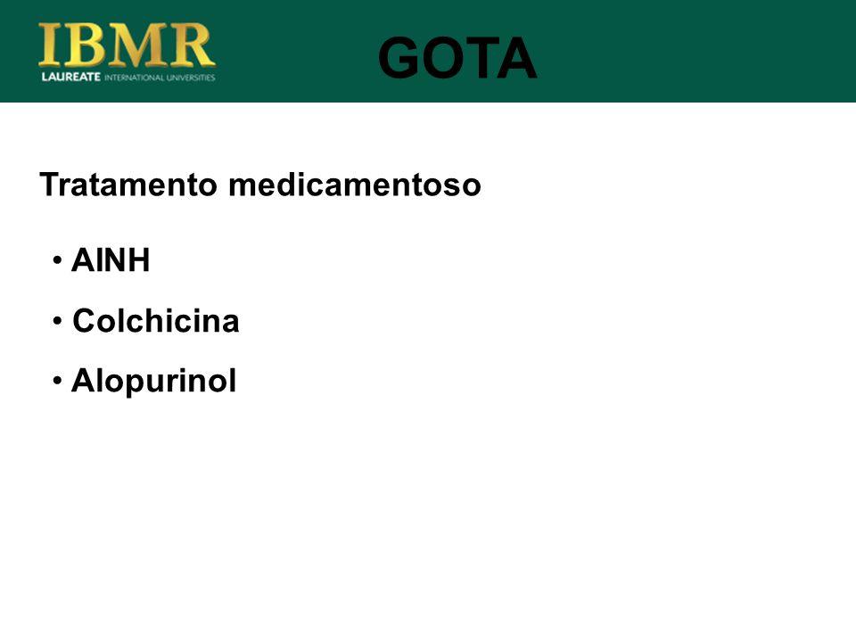 GOTA Tratamento medicamentoso AINH Colchicina Alopurinol