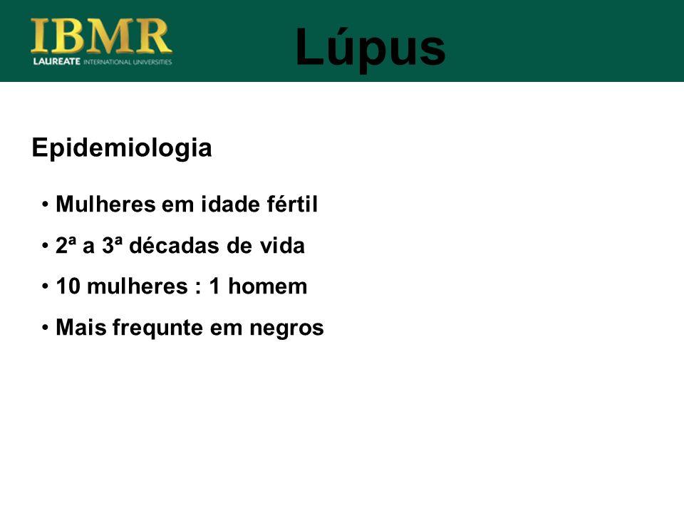 Lúpus Epidemiologia Mulheres em idade fértil 2ª a 3ª décadas de vida