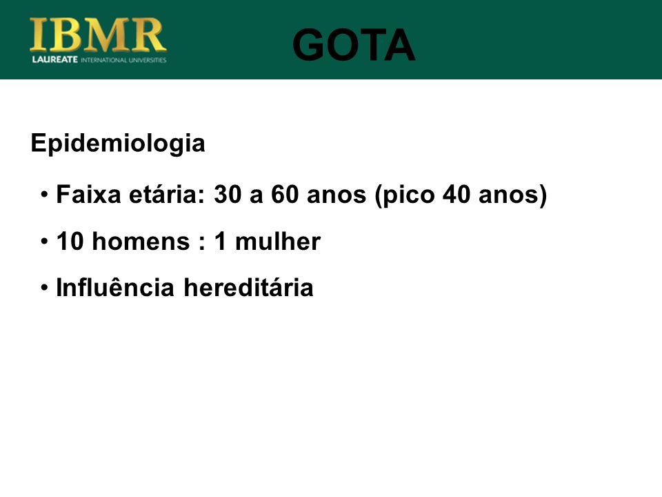 GOTA Epidemiologia Faixa etária: 30 a 60 anos (pico 40 anos)