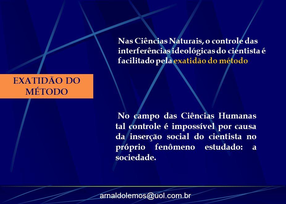 Nas Ciências Naturais, o controle das interferências ideológicas do cientista é facilitado pela exatidão do método