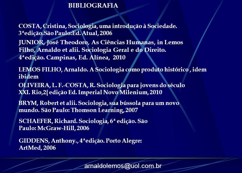 BIBLIOGRAFIA COSTA, Cristina, Sociologia, uma introdução à Sociedade. 3ªedição.São Paulo:Ed. Atual, 2006.