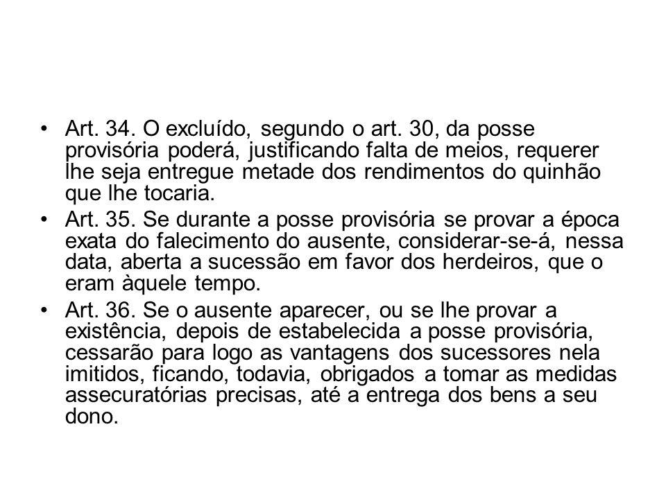 Art. 34. O excluído, segundo o art