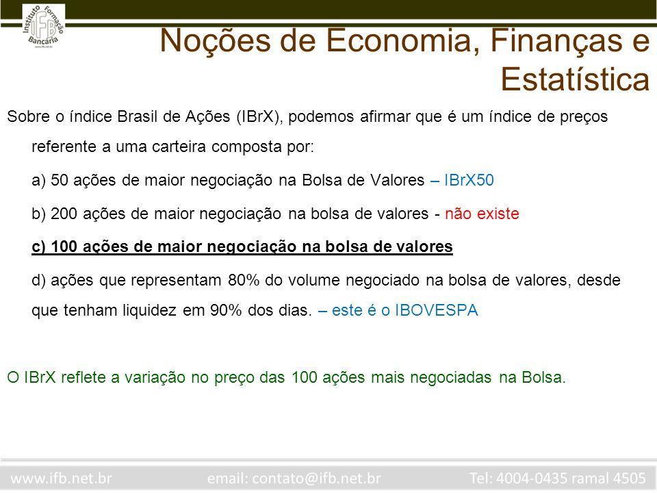 Noções de Economia, Finanças e Estatística