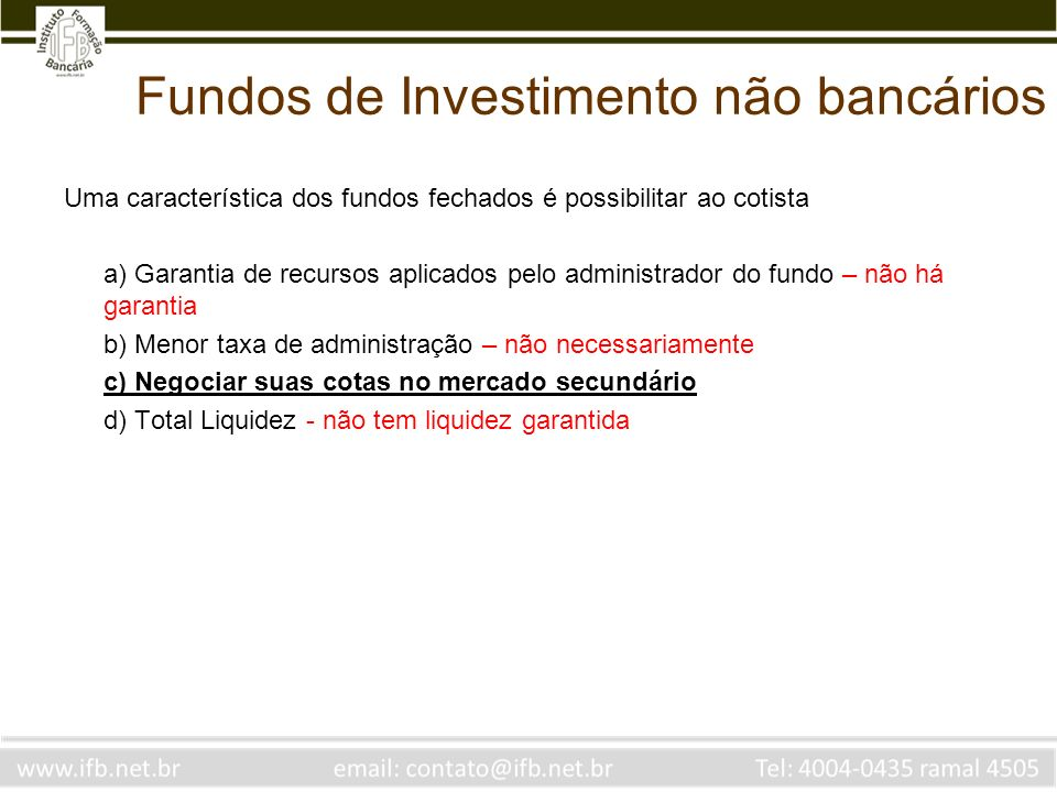 Fundos de Investimento não bancários