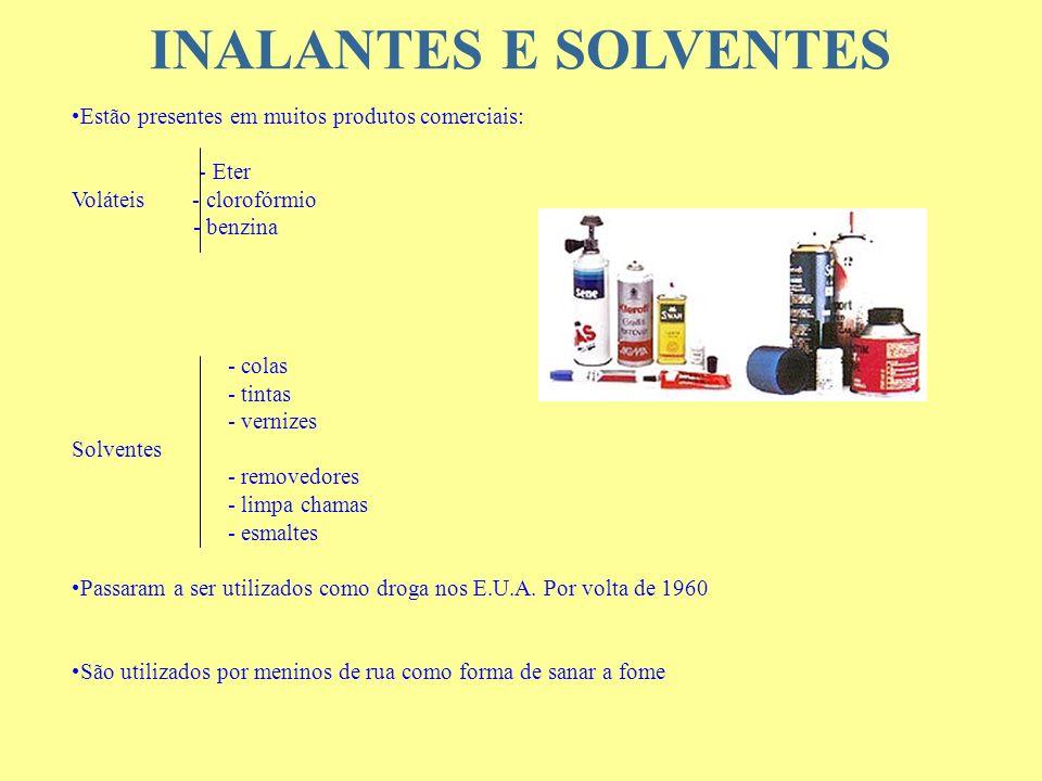 INALANTES E SOLVENTES Estão presentes em muitos produtos comerciais: