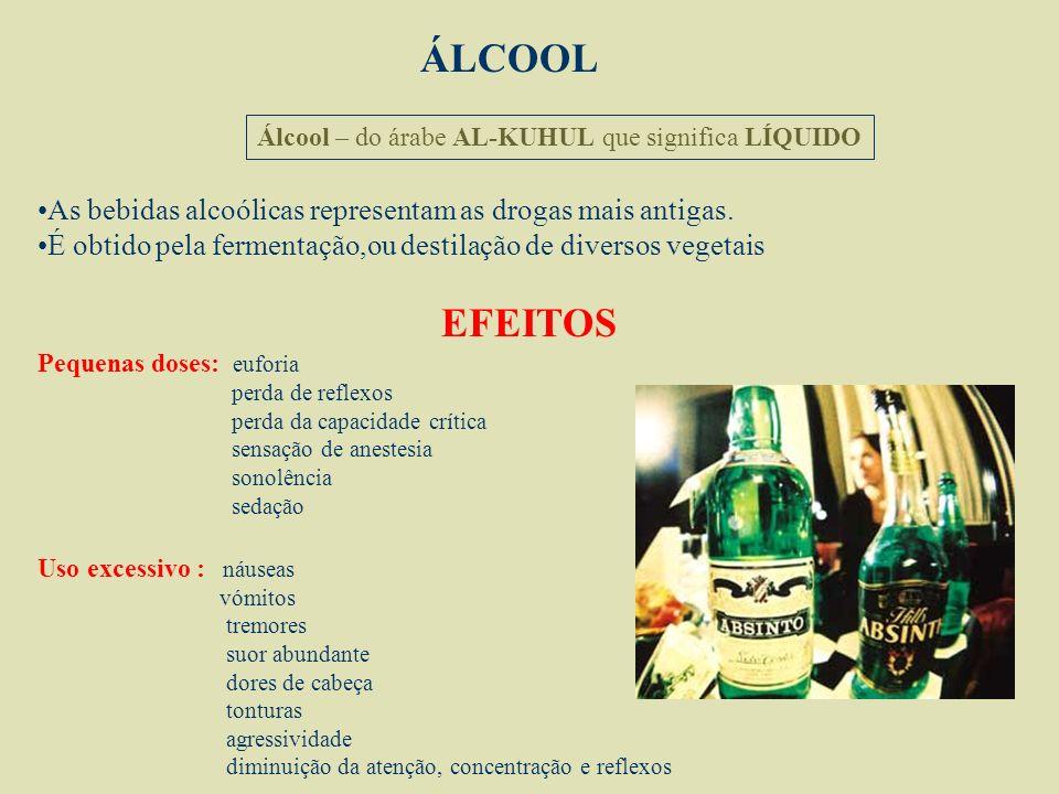 ÁLCOOL Álcool – do árabe AL-KUHUL que significa LÍQUIDO. As bebidas alcoólicas representam as drogas mais antigas.