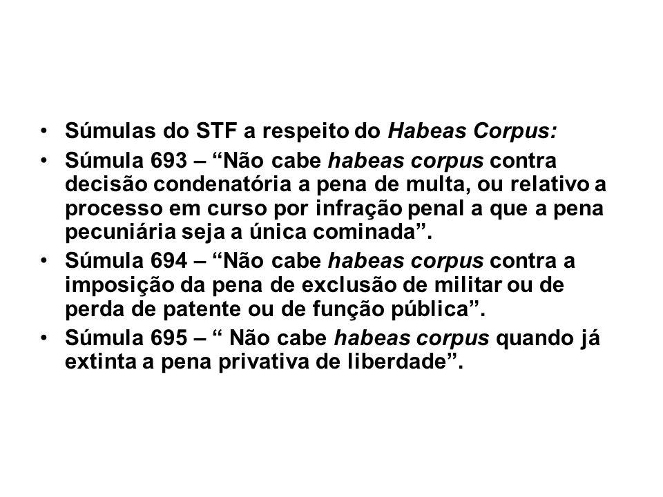 Súmulas do STF a respeito do Habeas Corpus: