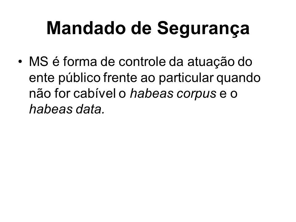 Mandado de Segurança MS é forma de controle da atuação do ente público frente ao particular quando não for cabível o habeas corpus e o habeas data.