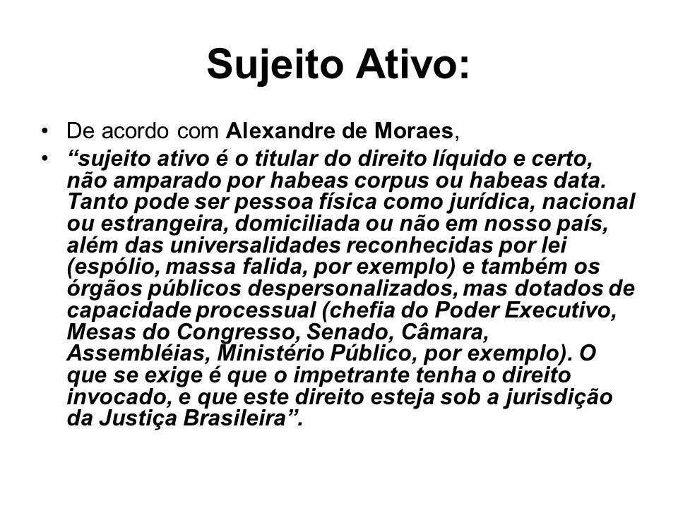 Sujeito Ativo: De acordo com Alexandre de Moraes,