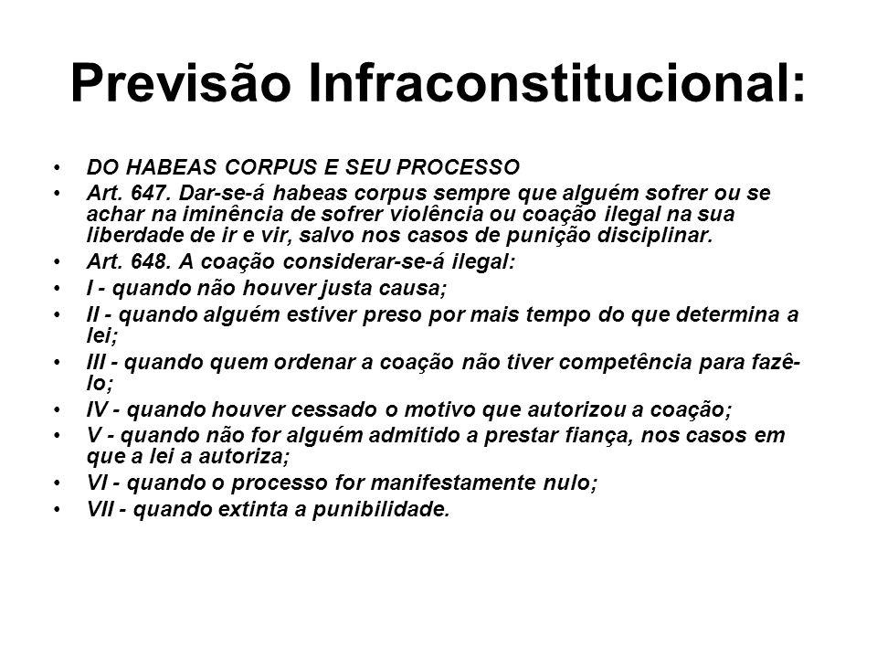 Previsão Infraconstitucional: