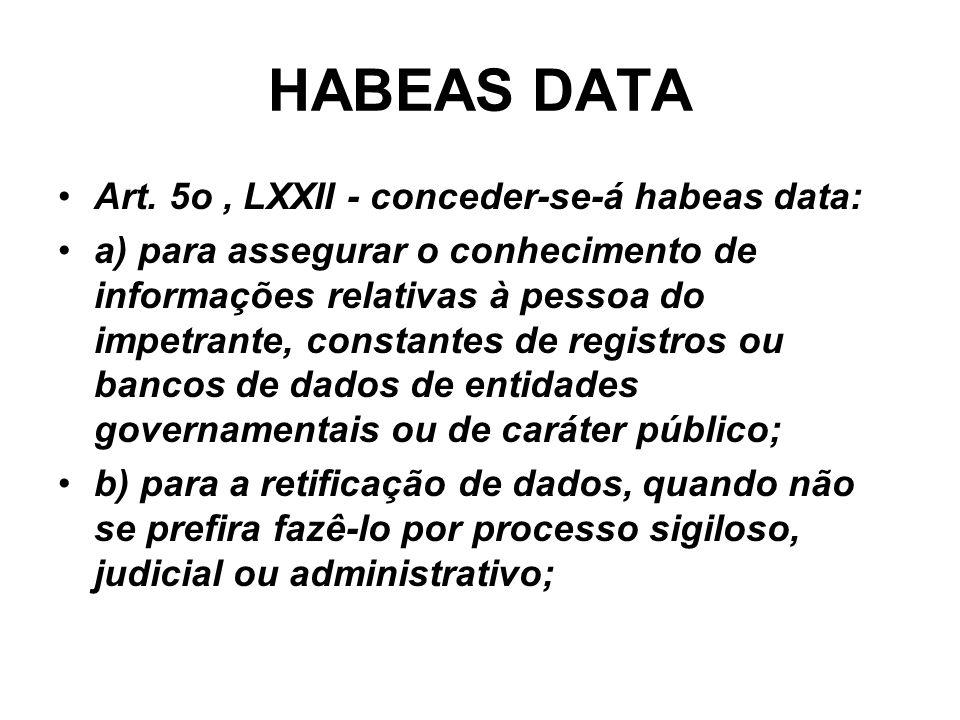 HABEAS DATA Art. 5o , LXXII - conceder-se-á habeas data: