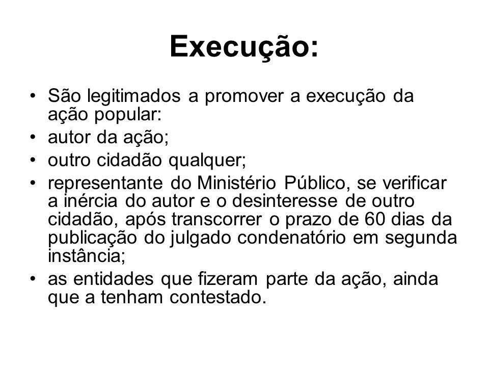 Execução: São legitimados a promover a execução da ação popular: