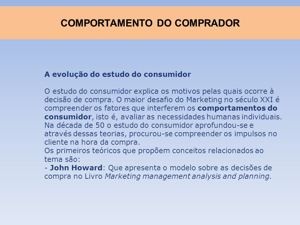 COMPORTAMENTO DO COMPRADOR
