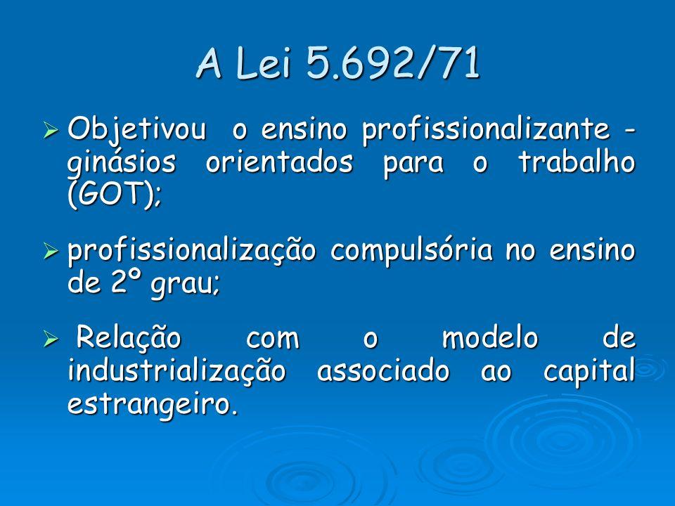 A Lei 5.692/71 Objetivou o ensino profissionalizante - ginásios orientados para o trabalho (GOT);