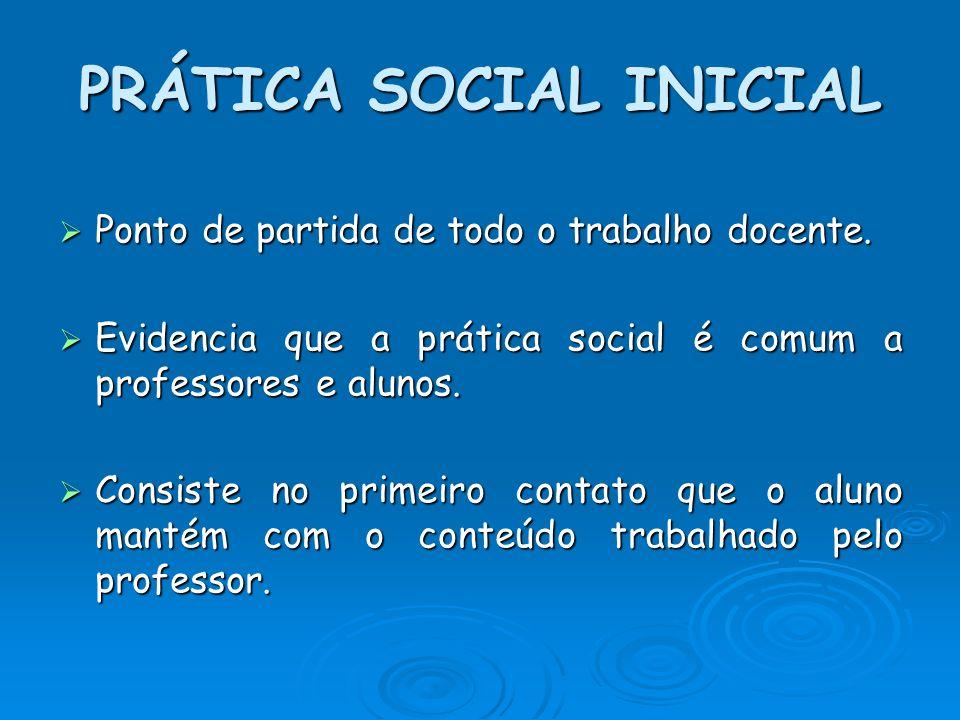 PRÁTICA SOCIAL INICIAL