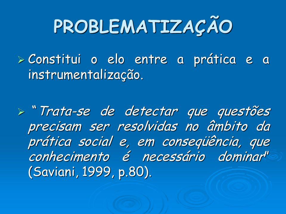 PROBLEMATIZAÇÃO Constitui o elo entre a prática e a instrumentalização.