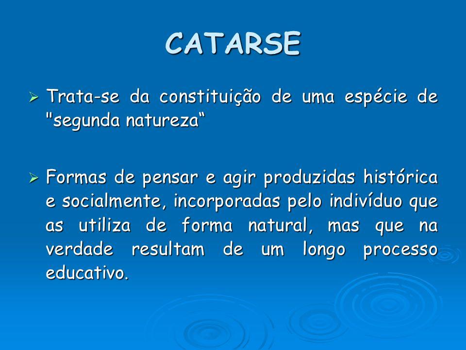 CATARSE Trata-se da constituição de uma espécie de segunda natureza