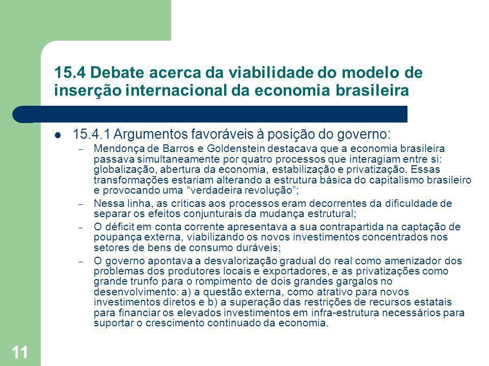 15.4 Debate acerca da viabilidade do modelo de inserção internacional da economia brasileira