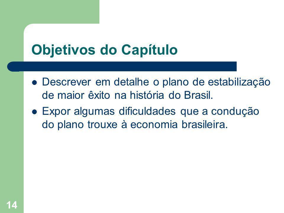 Objetivos do Capítulo Descrever em detalhe o plano de estabilização de maior êxito na história do Brasil.
