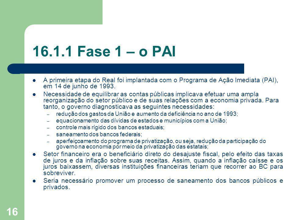16.1.1 Fase 1 – o PAI A primeira etapa do Real foi implantada com o Programa de Ação Imediata (PAI), em 14 de junho de 1993.
