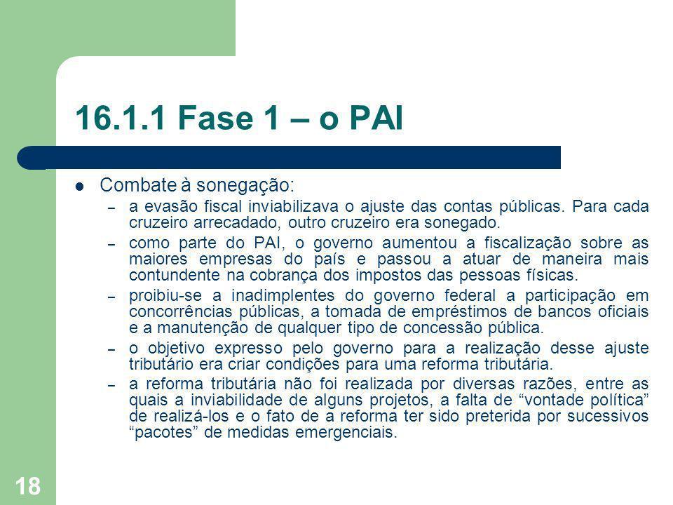 16.1.1 Fase 1 – o PAI Combate à sonegação: