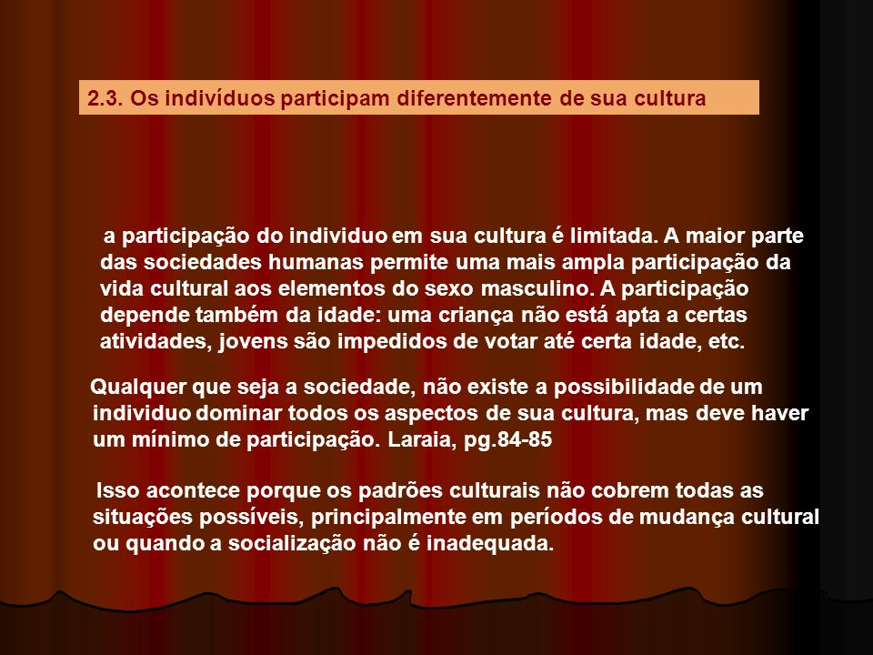 2.3. Os indivíduos participam diferentemente de sua cultura