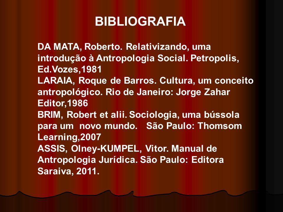 BIBLIOGRAFIA DA MATA, Roberto. Relativizando, uma introdução à Antropologia Social. Petropolis, Ed.Vozes,1981.