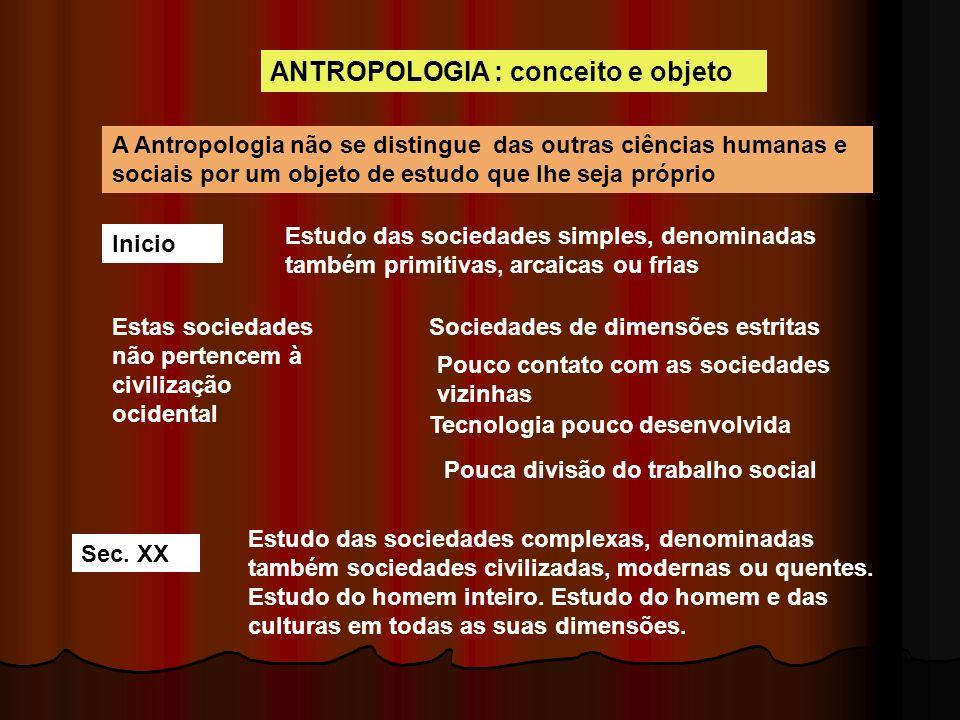 ANTROPOLOGIA : conceito e objeto