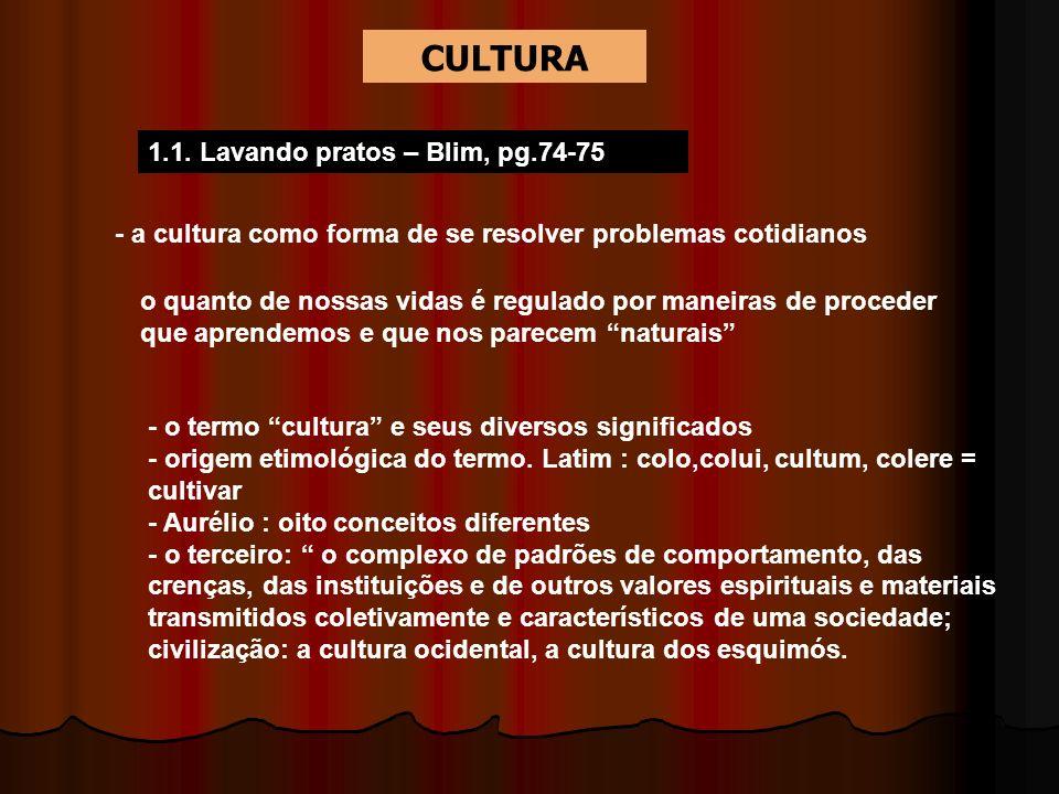 CULTURA 1.1. Lavando pratos – Blim, pg.74-75
