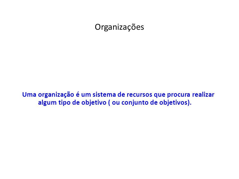Organizações Uma organização é um sistema de recursos que procura realizar algum tipo de objetivo ( ou conjunto de objetivos).