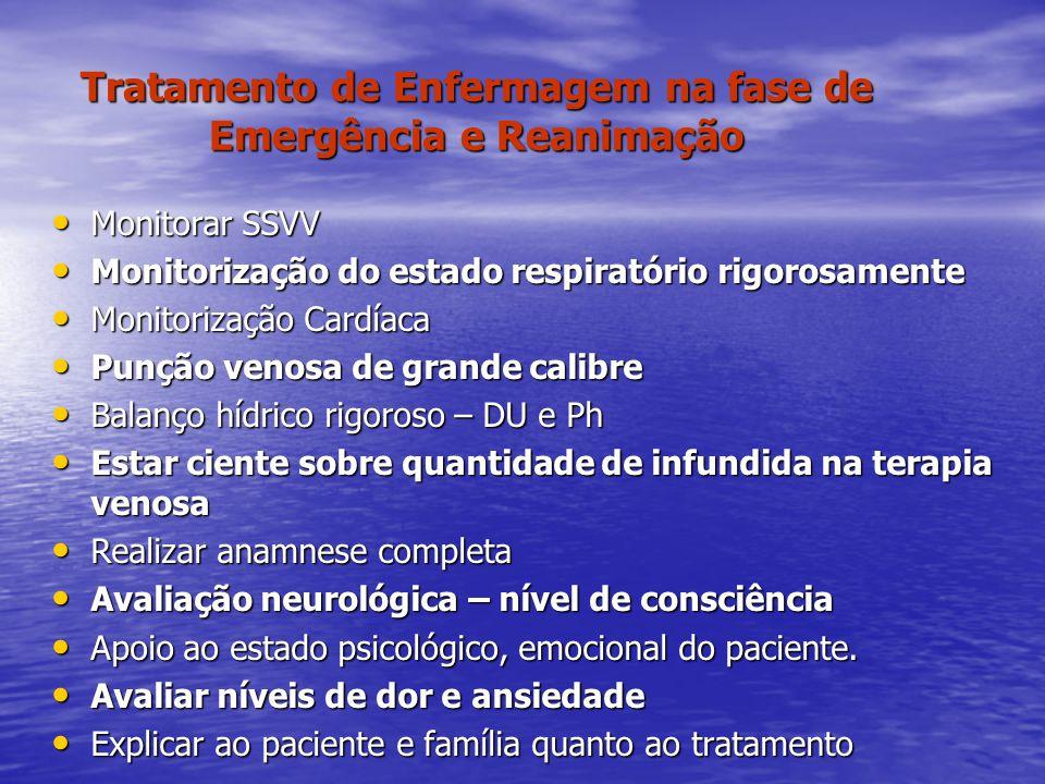 Tratamento de Enfermagem na fase de Emergência e Reanimação