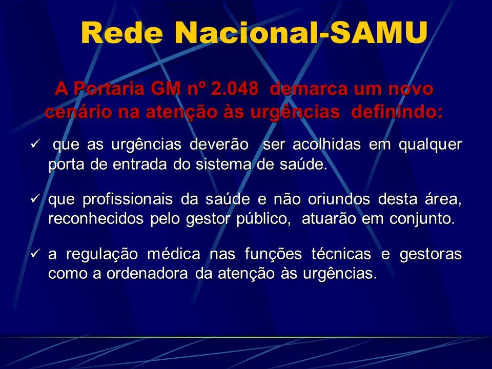 Rede Nacional-SAMU A Portaria GM nº 2.048 demarca um novo cenário na atenção às urgências definindo: