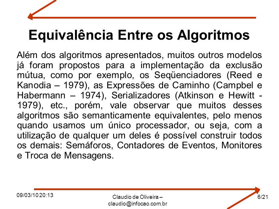 Equivalência Entre os Algoritmos