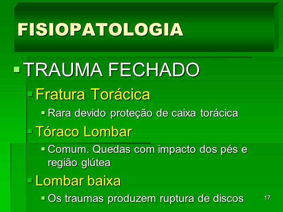 TRAUMA FECHADO FISIOPATOLOGIA Fratura Torácica Tóraco Lombar