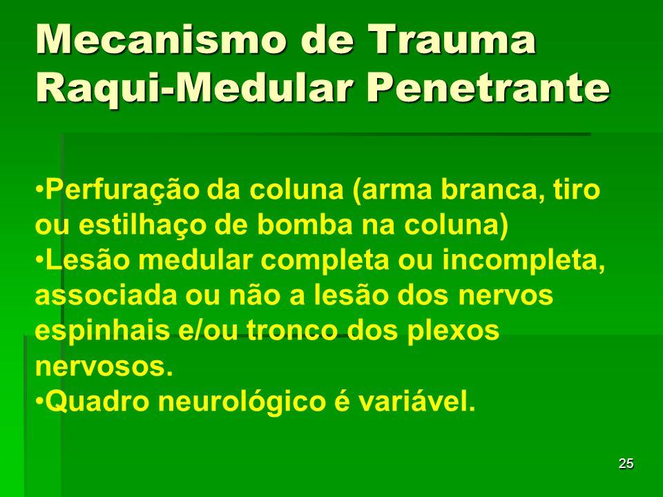 Mecanismo de Trauma Raqui-Medular Penetrante