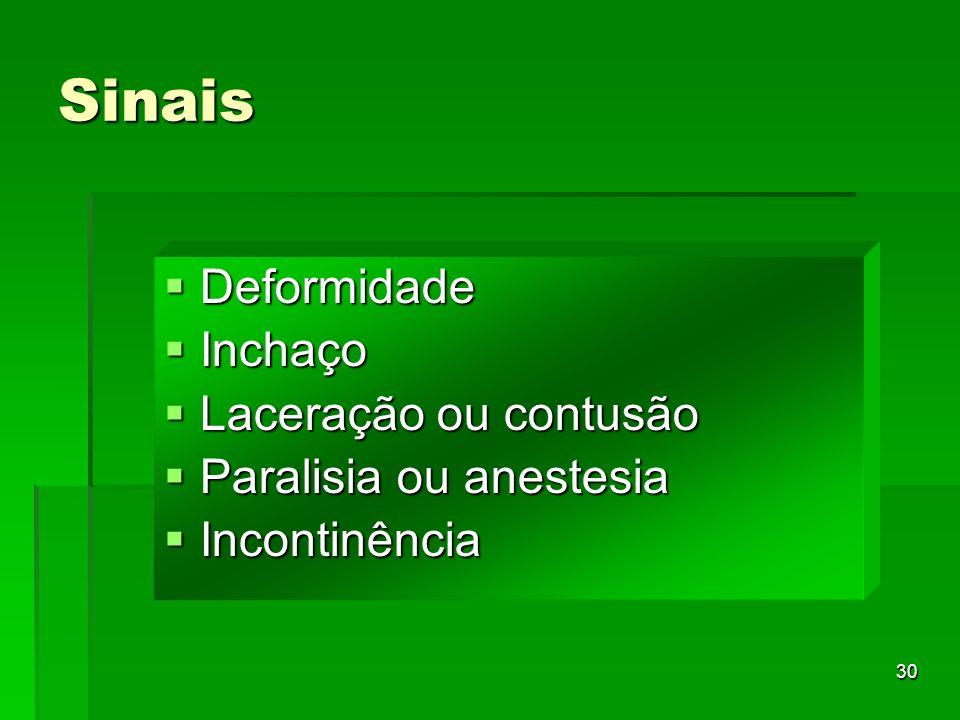 Sinais Deformidade Inchaço Laceração ou contusão