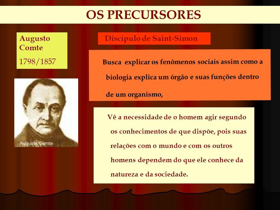 OS PRECURSORES Augusto Comte. 1798/1857. Discípulo de Saint-Simon.