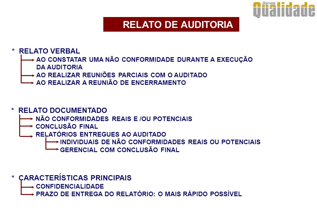RELATO DE AUDITORIA * RELATO VERBAL * RELATO DOCUMENTADO