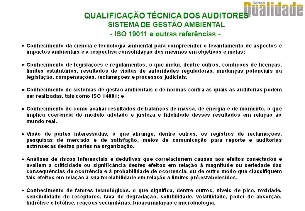 QUALIFICAÇÃO TÉCNICA DOS AUDITORES