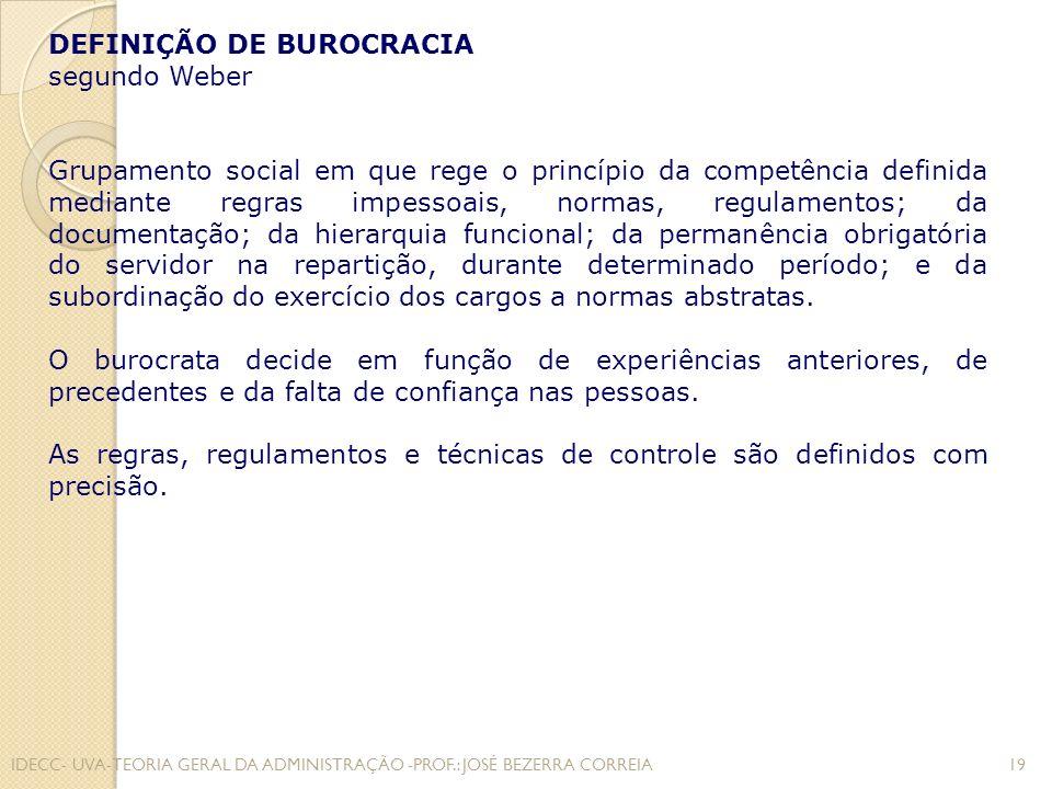 DEFINIÇÃO DE BUROCRACIA segundo Weber