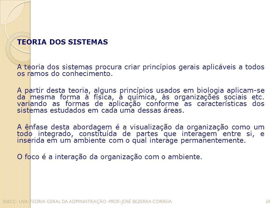 O foco é a interação da organização com o ambiente.